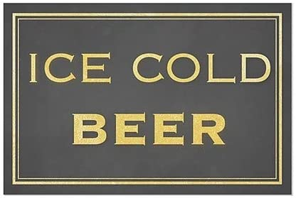 Classic Gold Window Cling 36x24 CGSignLab Ice Cold Beer