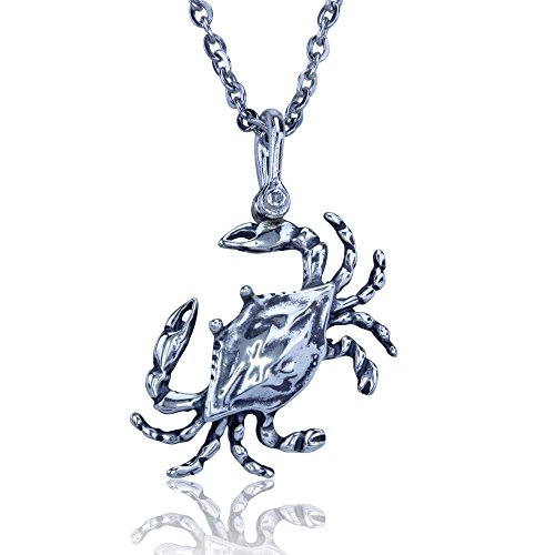 Blue Crab Pendant Crafted in Sterling Silver on an 18 Inch Necklace - Crab Jewelry