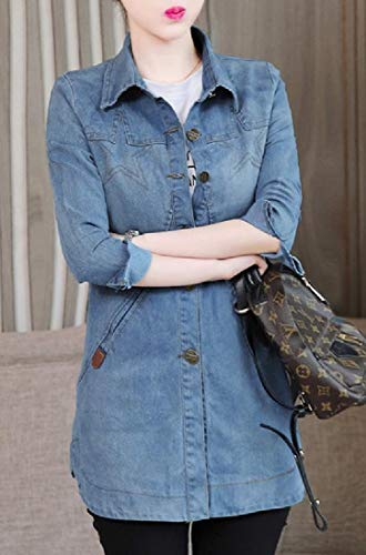 Down Regular Energy Length Button Jacket Blue Thigh Denim Womens Fit Light qqOwgI