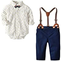 Nwada Baby Boy Clothing Outfits Sets, Newborn Boys Clothes, Bodysuit, Bowtie, Suspender, Pants
