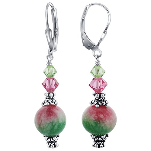 Gem Avenue 925 Sterling Silver Swarovski Elements Pink & Green Crystal Leverback Handmade Drop Earrings for Women ()