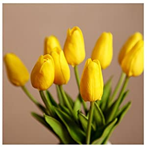 Muyee Artificial Tulips, Single Stem 12 Heads Artificial Real Touch PU Tulips Flowers Arrangement Bouquet Home Room Office Centerpiece Party Wedding Decor 3