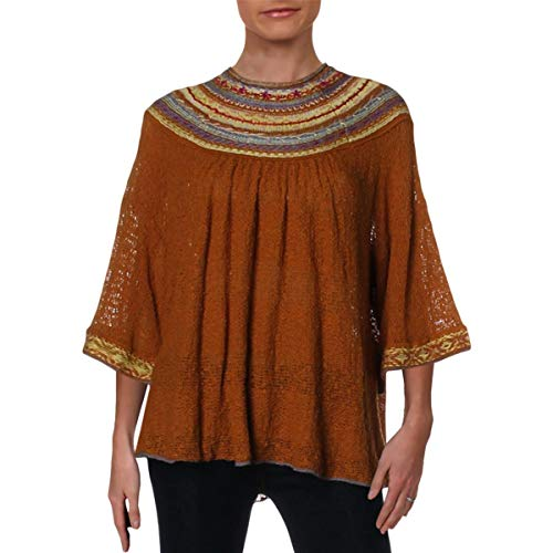 Free People Womens Vacation Embroidered 3/4 Sleeves Pullover Sweater Brown S