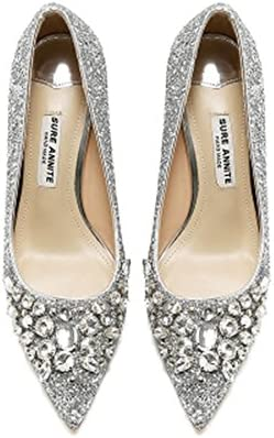 9961ab4a2e7ec Amazon.com: Veribuy Pointed Heels High Heel Shoes Rivet Nude Shoes ...