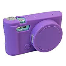 Removable Lens Cover Protective Silicone Gel Rubber Soft Camera Case Cover Bag For Casio ZR3500 Camera Purple