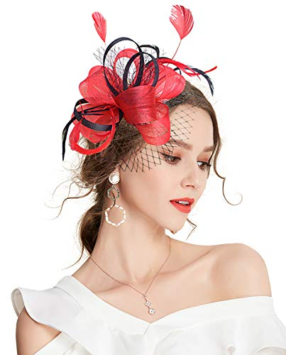 - Z&X Sinamay Penny Mesh Bow Flower Hair Clip Fascinator Hat for Women Cocktail Red
