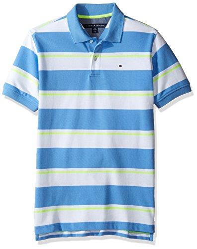 Tommy Hilfiger Boys' Big Short Sleeve Striped Polo Shirt, Summer Blue, Medium (12/14) by Tommy Hilfiger