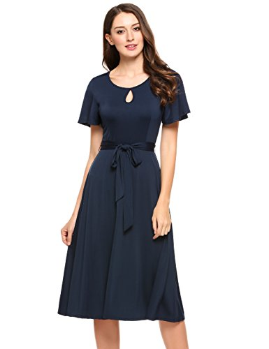 ACEVOG Women Short Sleeve Pleated Casual Flare Midi Dress with Belt