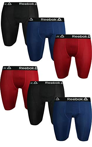 Core Mens Reebok (Reebok Men\'s Compression Long Leg Performance Boxer Briefs (6 Pack), Black/Red/Blue, Small')