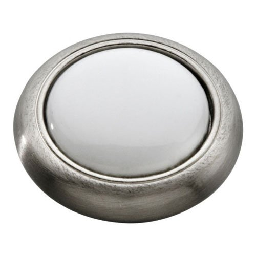 Hickory Hardware P709-SNW 1-1/8-Inch Tranquility Knob, Satin Nickel With White by Hickory Hardware