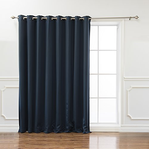 Best Home Fashion Wide Width Thermal Insulated Blackout Curtain - Antique Bronze Grommet Top - Navy - 100