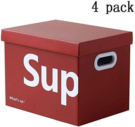 LHY SAVE 4 Pcs Cajas De Cartón,Caja De Almacenaje De Cartón,con Tapa Y Asa,Fácil De Ensamblar, para Regalo, Almacenamiento En El Hogar, Oficina Y Mudanza, Rojo,34 * 25 * 26.5Cm: Amazon.es: Hogar