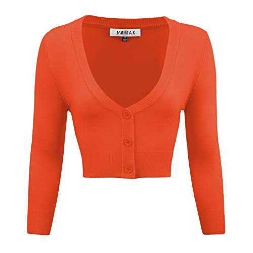 (YEMAK Women's Cropped 3/4 Sleeve Bolero Button Down Cardigan Sweater CO129-FST-M)