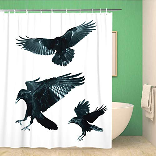 Awowee Bathroom Shower Curtain Game Birds Mix Flying Common Ravens Corvus Corax Halloween Polyester Fabric 72x78 inches Waterproof Bath Curtain Set with Hooks -