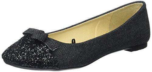 552 Scala Glitter Ballerine Donna Initiale noir Nero qYxFwd