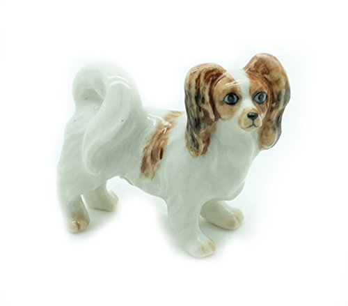 Grandroomchic Animal Miniature Handmade Porcelain Statue Papillon Dog Figurine Collectibles Gift
