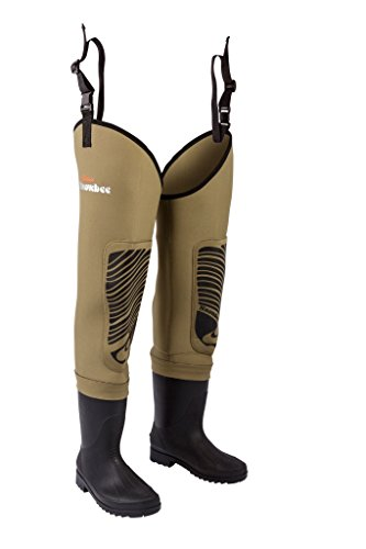 Snowbee Men Classic Neoprene Cleated Sole Thigh Wader - Light Olive, Size 9