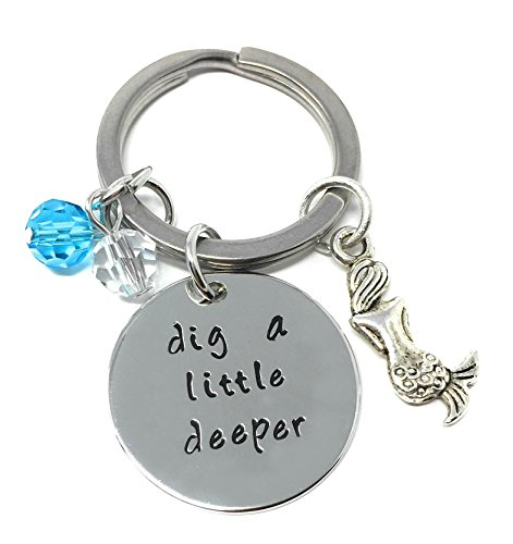 Silver-Tone 'Dig A Little Deeper' Engraved Pendant Keyring 2.2cm Diameter Princess And The Frog (Tone Frog Pendant)