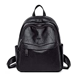 Women Leather Backpacks Femme Ladies Bagpack Luxury Designer Backpack Casual Daypack Back Pack Black