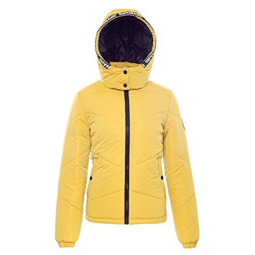 Rokka&Rolla Women's Heavy Padded Water-Resistant Hooded Thickened Quilted Puffer Jacket, Ceylon Yellow, Medium