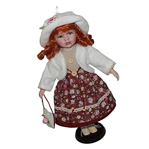 (DYNWAVE Victorian Collection Porcelain Doll Collectible, 16inch Porcelain Doll Figurines, Ceramics Collectible, Home Ornament Decor)
