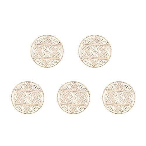 (PH PandaHall 5pcs Gold Metatron Metal Stickers Flat Round Six-Pointed Star of David Stickers for Album Embellishment DIY Scrapbooking Decoration)