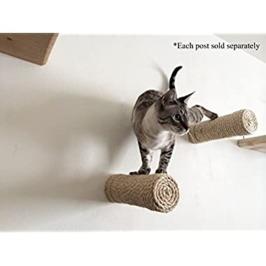 CatastrophiCreations Floating Sisal Cat Post Step - Handcrafted Cat Shelf