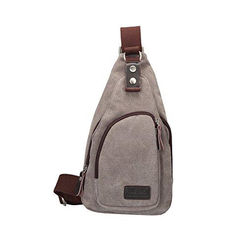 Wewod Bolso de Pecho Hombre de Casual,Bolsa de Hombro Deporte de Lona,Mochilas Escolares de Hombro,Sling Bag for Men 15 x 30 x 6 cm (L*H*W) (Negro) Gris claro