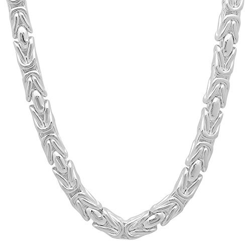 [5mm Solid 925 Sterling Silver Boxed Byzantine Link Italian Chain, 26