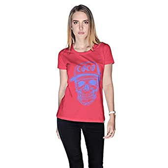 Creo Violet Coco Skull T-Shirt For Women - Xl, Pink