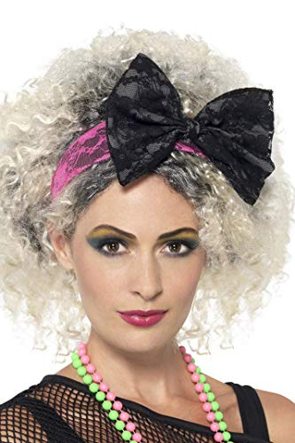 Smiffys 80s Black & Pink Lace Headband,Pink / Black,One Size -
