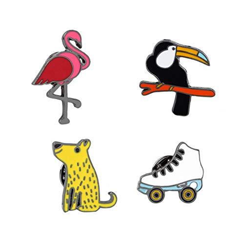 SKZKK Enamel Pin Firebird Woodpecker Skates Cute Rhubarb Dog Gifts for Women Cute Pins Cartoon Creative Animal
