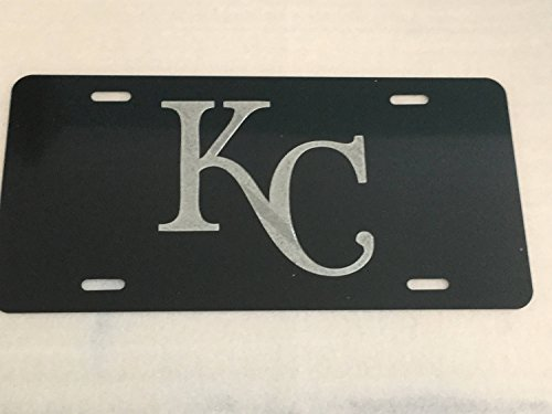 Diamond Etched Kansas City Royals Logo Car Tag on Black Aluminum License Plate - Kansas License Plate