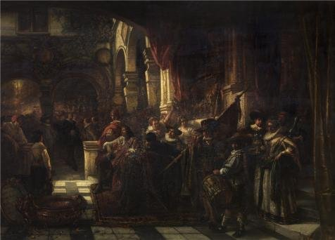 Oil Painting 'Henri Leys - The Reception Of Peter Paul Rubens By The Antwerp Arquebusiers,19th Century' Printing On Perfect Effect Canvas , 12x17 Inch / 30x42 Cm ,the Best Hallway ()