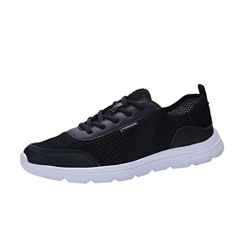 Rawdah Chaussures De Sport Légères Respirantes Anti-Dérapantes en Mesh Respirant Chaussures Casual Sneakers Mesh Lace Confortable de Chaussures Couple (39, Noir-Homme) Noir-homme