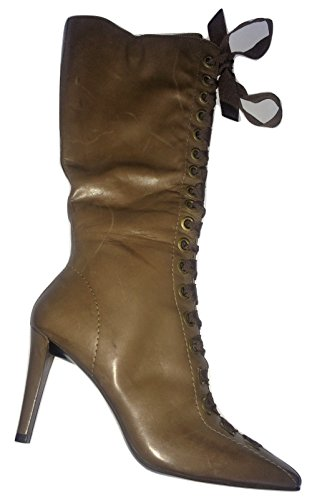 Brown Front Boots Dune Toe Lace Square Light Leather Stiletto SPqYBAw