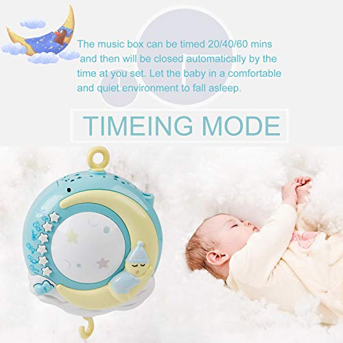 Baby Musical Crib Mobile with Timing Function Projector Lights,Stand-Along Rattles and 150 Melodies Music Box with Remote Control for Newborn 0-24 Months