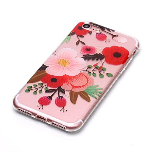 Coque iPhone 7 / iPhone 8 Belle fleur Premium Gel TPU Souple Silicone Transparent Clair Bumper Protection Housse Arrière Étui Pour Apple iPhone 7 / iPhone 8 + Deux cadeau