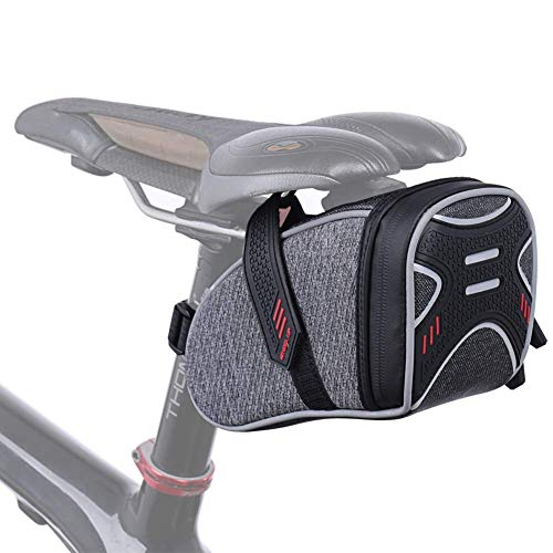 CamGo Bike Wedge Saddle Bag Mountain Road Bike Seat Pack Bicycle Repair Tools Pocket Cycling Supplies (Gray-2)