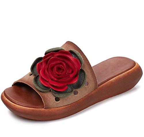 Sandalias Abierta Estilo a DANDANJIE Hechas Sandalias Estilo de para Caqui Zapatos Punta Mano Flores Sandalias étnico Zapatillas Mujer caseros de Sandalias TnwqtwB46