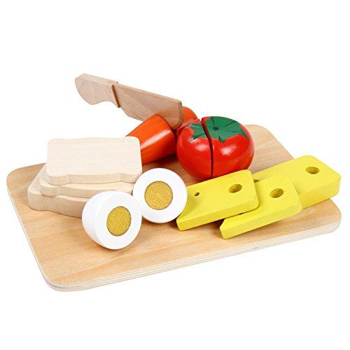 Infantastic Spielzeug-Schneidebrett Frühstücksset aus Holz als Küchenzusatz mit Brot- und Gemüsespielzeug und flachem Brett