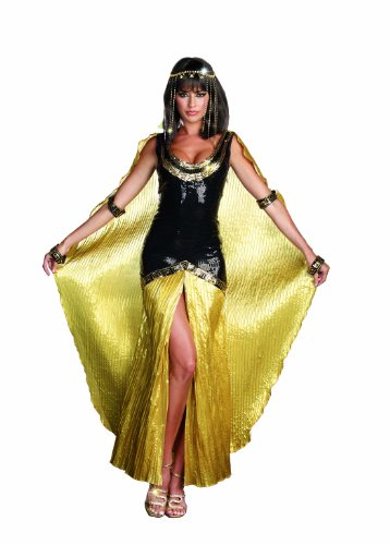 Dreamgirl Women's Cleo Dress, Black/Gold, Large -