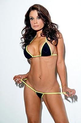 Solid Black Medium Micro G-String Thong Bikini USA Made Exotic w/ Neon Green 2pc
