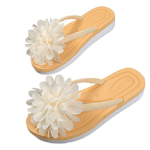 Btrada Women's Flower Thong Flip-Flops Anti-Slip Flats Fashion Beach Sandal White