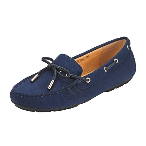 JENN ARDOR Suede Penny Loafers for Women: Vegan Leather Bow Knot Slip-On Driving Moccasins-Dark ()