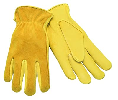 MCR Safety 3505XS Regular Grain Deerskin Leather Palm Self Hemmed Unlined Gloves with Keystone Thumb, Yellow, X-Small, 1-Pair