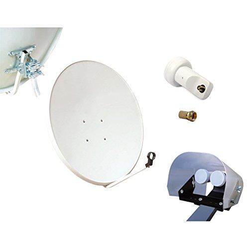 SAT Installation satellite Saladier en acier 80 cm + LNB single 1 ré cepteur TV + 1 protection mé té o + 1 fiche F HD-LINE Basic