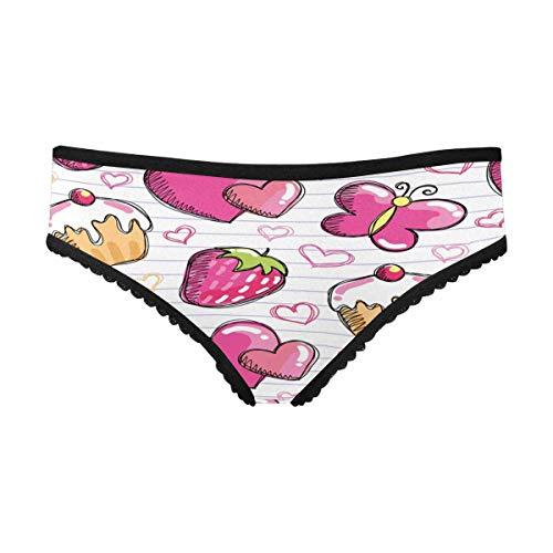 InterestPrint Women's Brief Panty Funny Pink Strawberry Cake XS