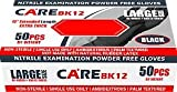 CARE BLACK 6-mil Nitrile Examination Powder-Free Gloves 12'' Extended Length Box - Size: Large