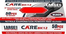 Careブラック6-milニトリル試験粉末ゼログローブ12